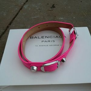 Balenciaga hot pink leather wrap bracelet